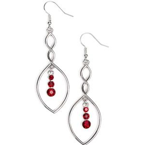 Twisted Trio Silver and Red Rhinestone Earrings